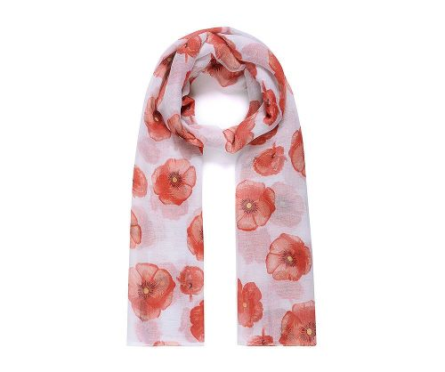 White POPPY Print Oversized Lightweight Fashion Scarf