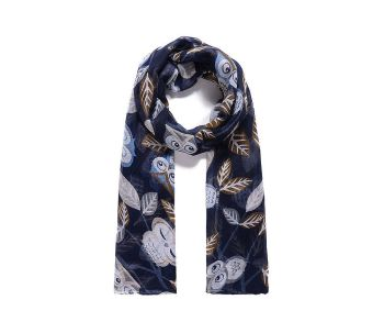 DARK BLUE OWL Print Oversized Lightweight Fashion Scarf