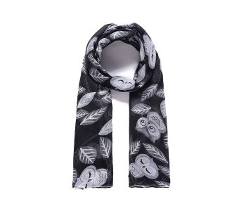 BLACK OWL Print Oversized Lightweight Fashion Scarf