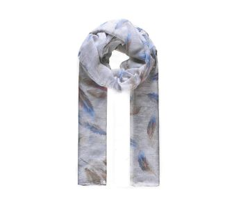 WHITE FEATHERS Print Oversized Lightweight Fashion Scarf