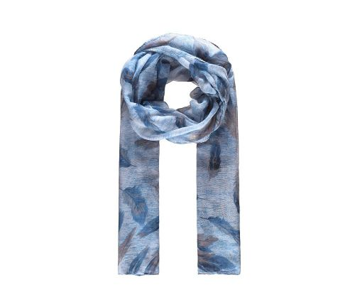 BLUE FEATHERS Print Oversized Lightweight Fashion Scarf