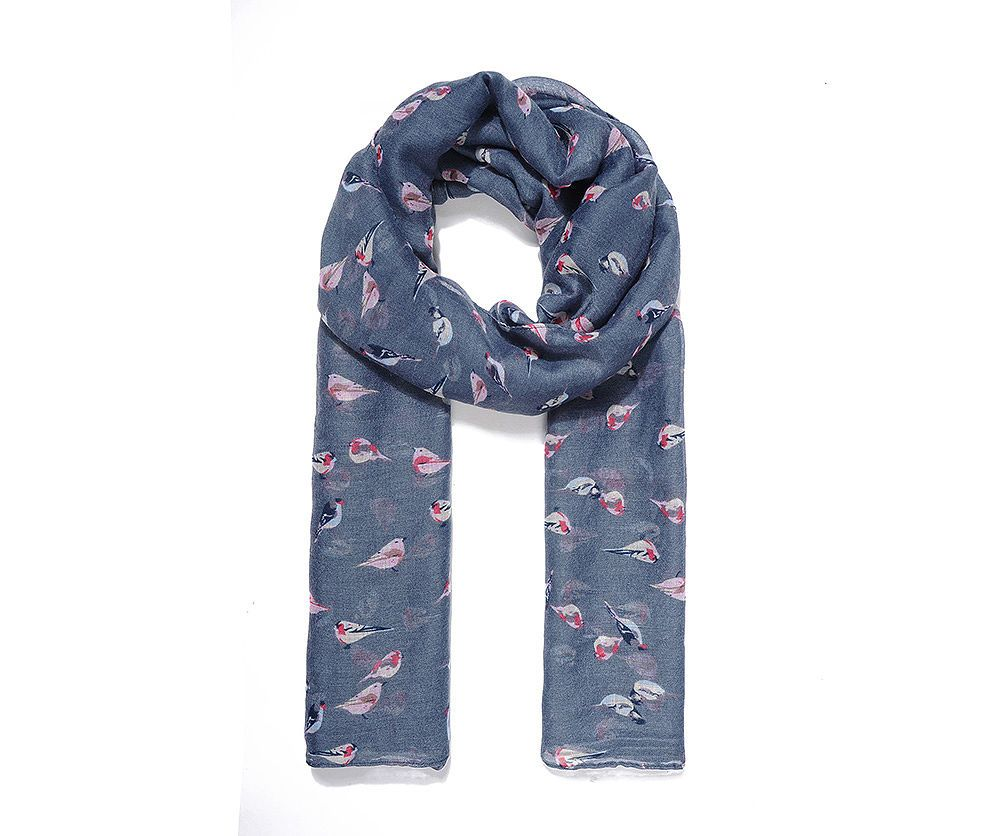 BLUE LITTLE BIRDS Print Oversized Lightweight Fashion Scarf