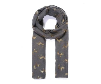 GOLD STAG Print Oversized Lightweight Fashion Scarf