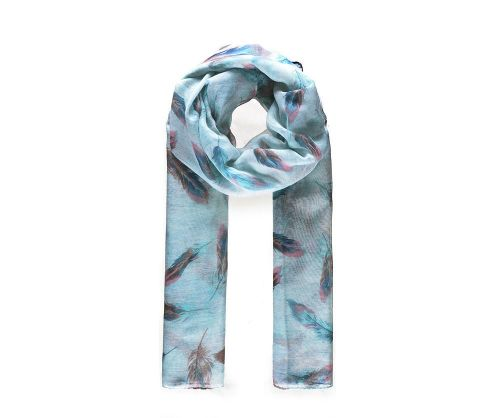 GREEN FEATHER Print Oversized Lightweight Fashion Scarf
