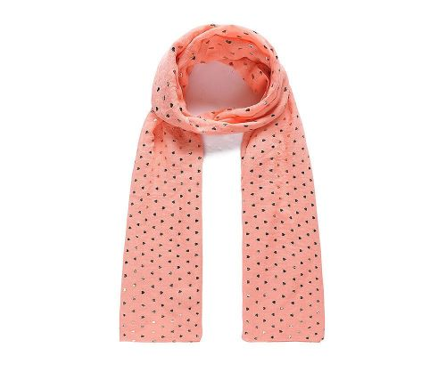 CORAL METALLIC HEART Print Oversized Lightweight Fashion Scarf