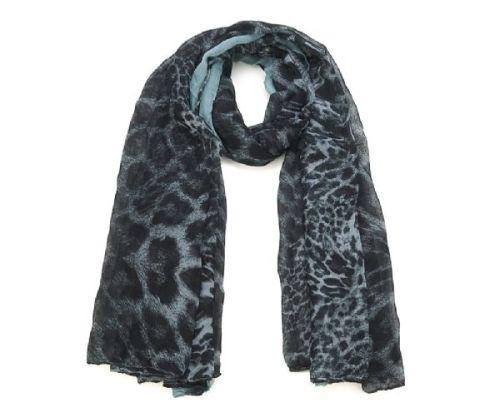 BLUE/BLACK ANIMAL Print Oversized Lightweight Fashion Scarf