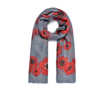 GREY POPPIES Print Oversized Lightweight Fashion Scarf