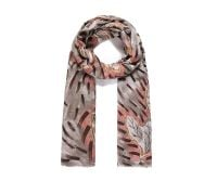 PINK/BROWN LEAF Print Oversized Lightweight Fashion Scarf