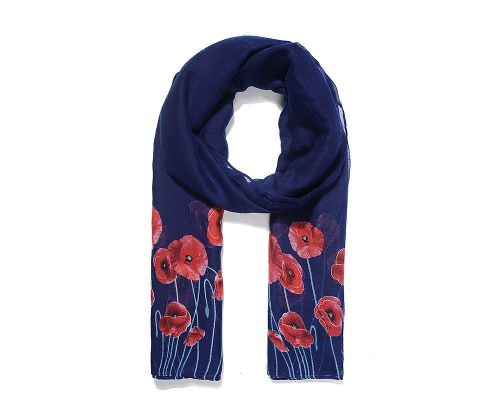 BLUE POPPY STEMS Print Oversized Lightweight Fashion Scarf