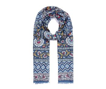BLUE MULTI FLORAL Print Oversized Lightweight Fashion Scarf