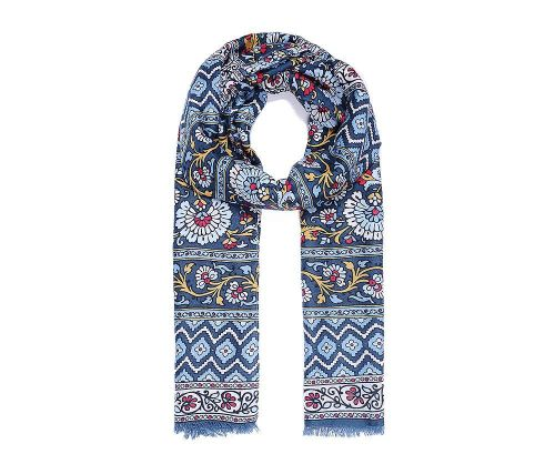 BLUE MULTI FLORAL Print Oversized Lightweight Fashion Scarf