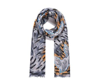 BLUE/GREY LEAF Print Oversized Lightweight Fashion Scarf