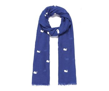 BLUE FLOCKED WHALE Oversized Lightweight Fashion Scarf
