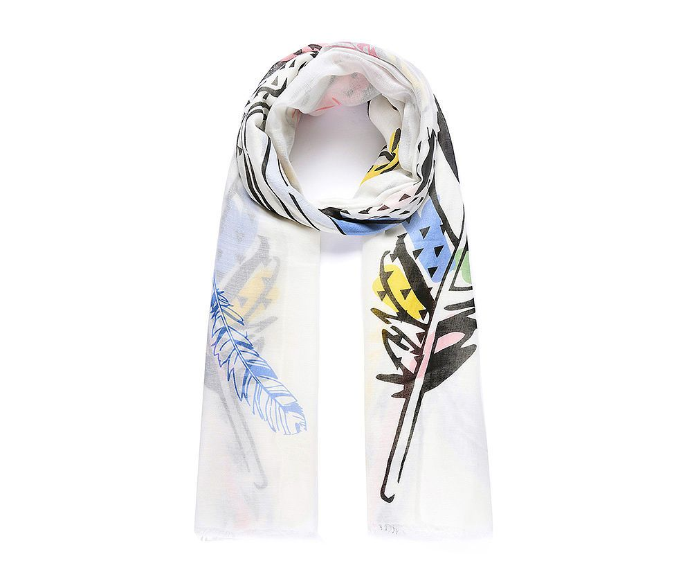 WHITE LARGE FEATHER Print Oversized Lightweight Fashion Scarf