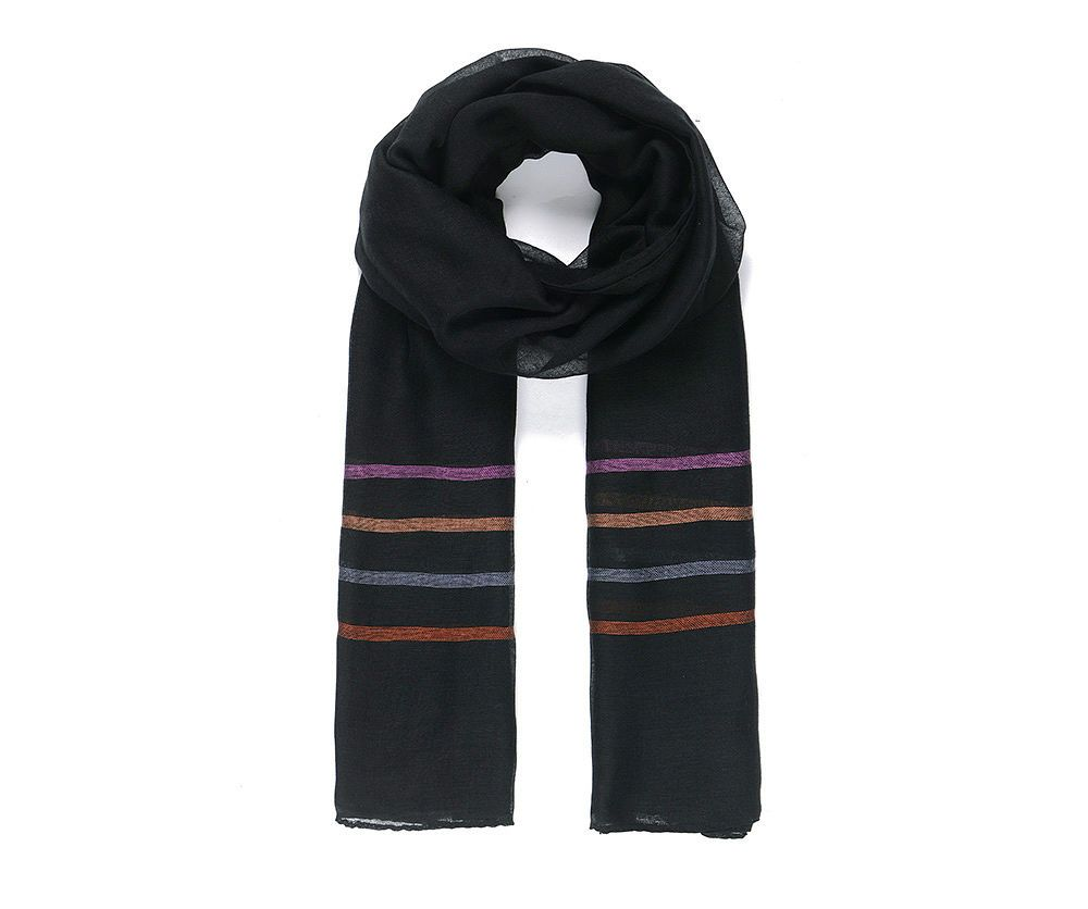 BLACK STRIPEY Print Oversized Lightweight Fashion Scarf