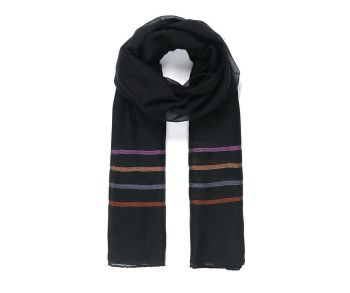 BLACK STRIPEY Oversized Lightweight Fashion Scarf
