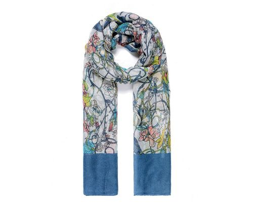 BLUE FLORAL PRINT Print Oversized Lightweight Fashion Scarf