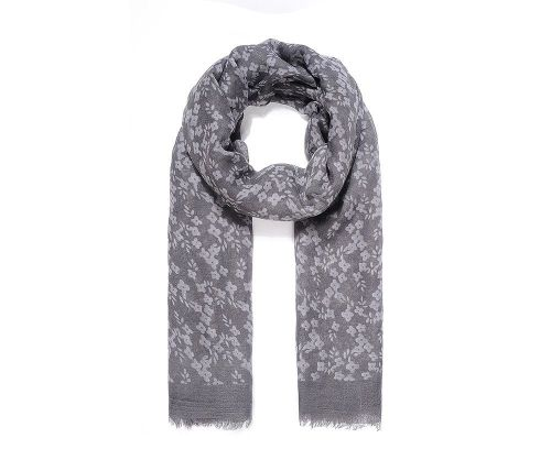 GREY FLORAL Print Oversized Lightweight Fashion Scarf