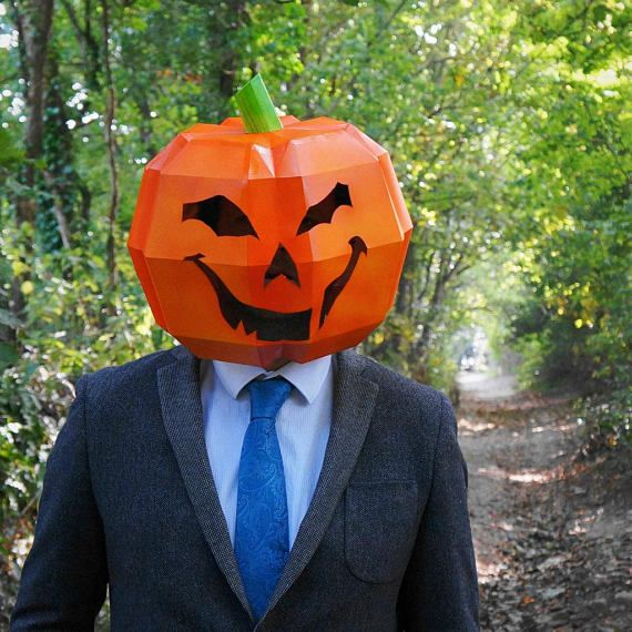 Halloween Costume and Décor Inspiration from Etsy Carved Pumpkin Cardboard