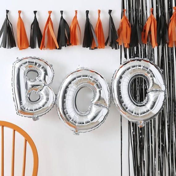 Halloween Costume and Décor Inspiration from Etsy silver BOO balloons