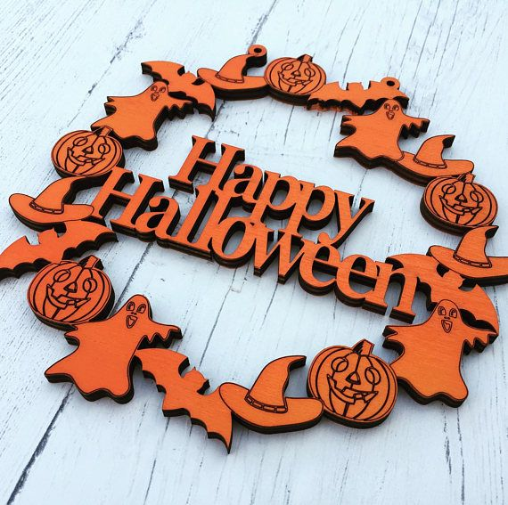 Halloween Costume and Décor Inspiration from Etsy wooden orange wreath sign