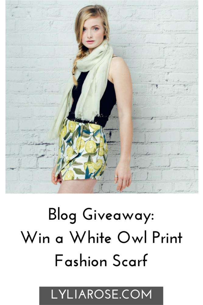 Blog Giveaway Win a White Owl Print Fashion Scarf winitwednesday