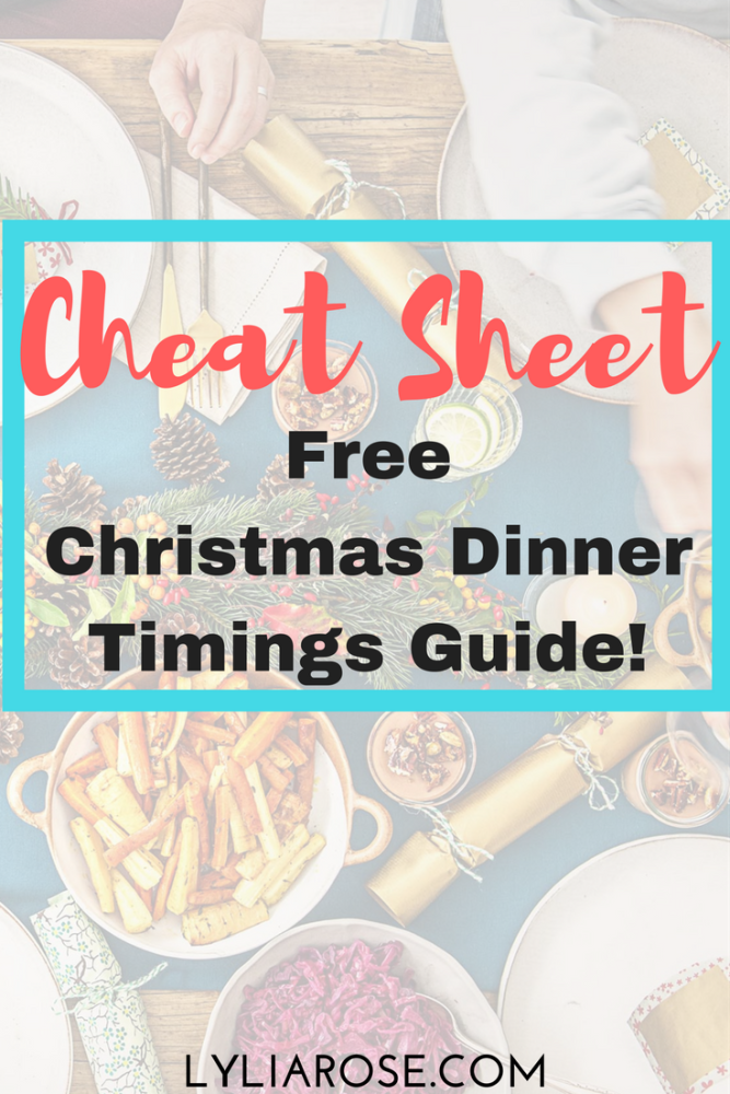 Christmas Dinner Timings Guide Cheat Sheet Free Download