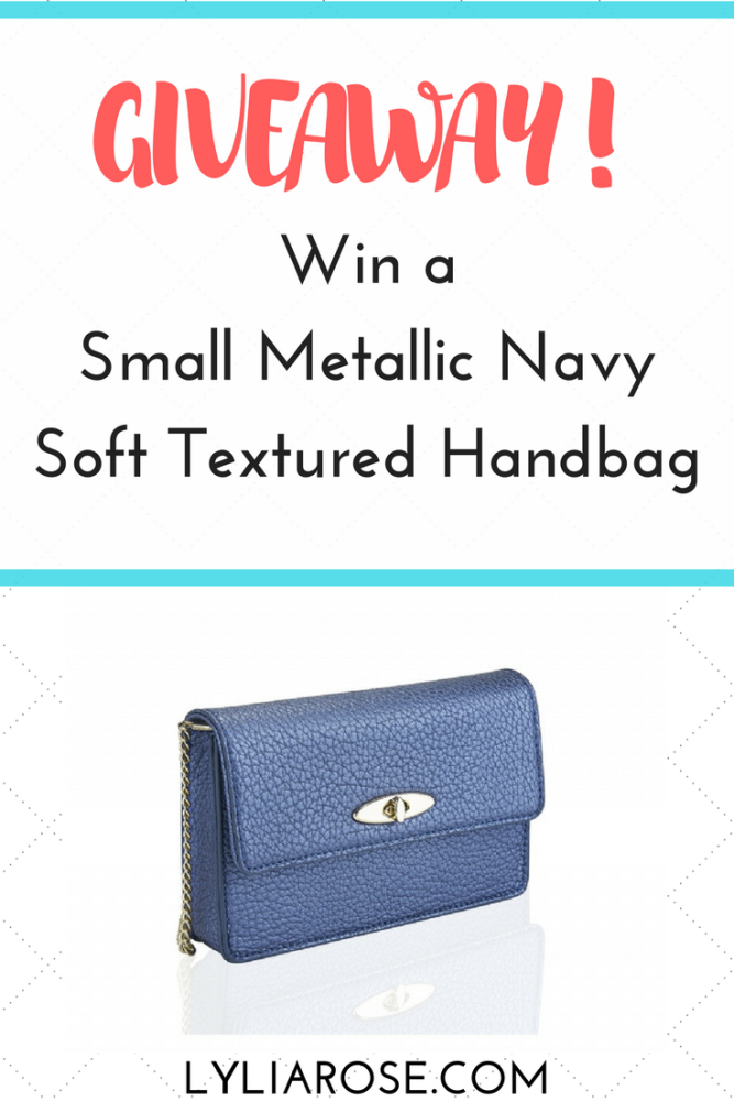 Win a Small Metallic Navy Soft Textured Handbag