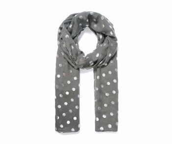 METALLIC SILVER SPOTS Print Oversized Lightweight Fashion Scarf