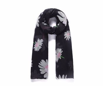 BLACK FLOWERS Print Scarf