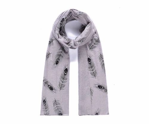 Double Sided Feathers and Metallic Dots Print Scarf