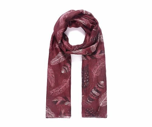 Red Feathers Print Scarf