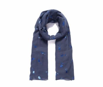 Blue Metallic Roses Print Scarf
