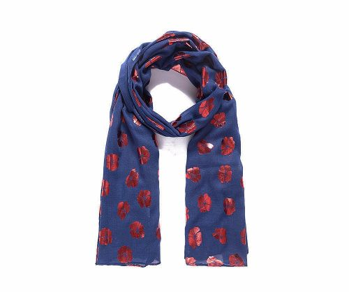 Blue and Red Metallic Poppy Print Scarf