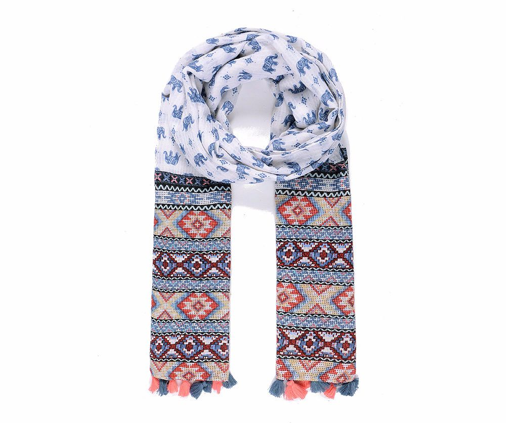 Blue Patterned Elephant Print Tassel Scarf