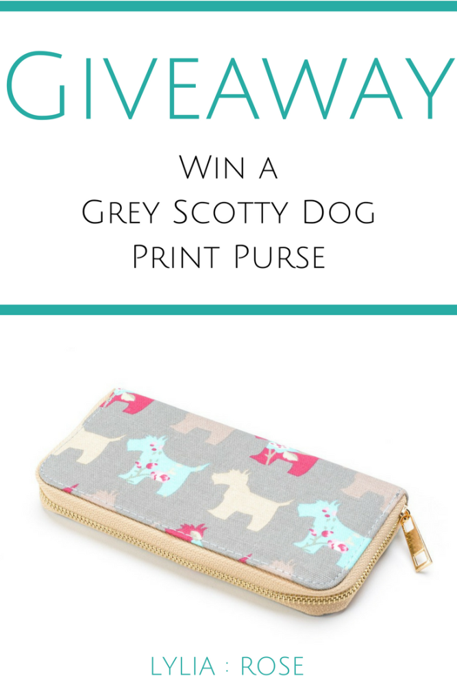 Blog Giveaway win a grey scotty dog print purse