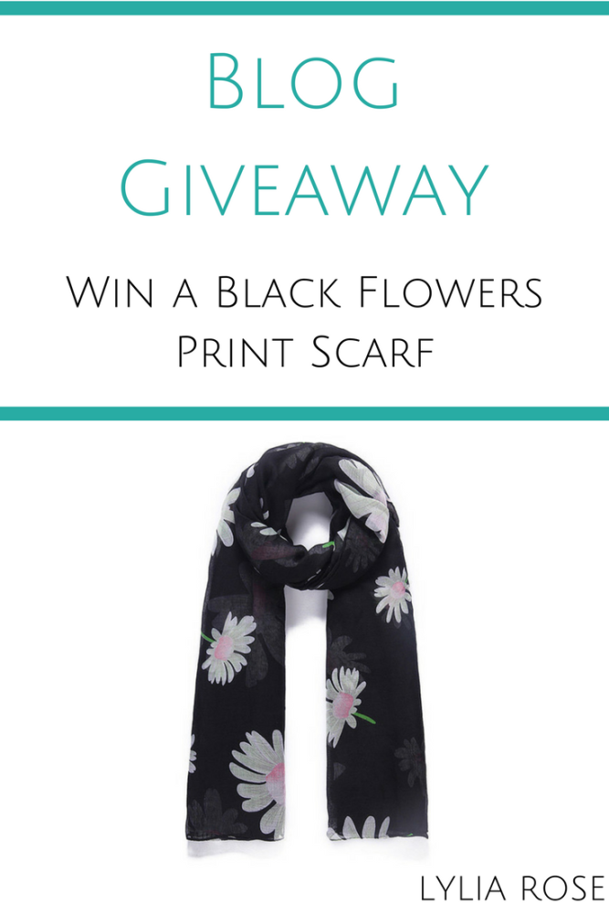 Blog Giveaway win a black flowers print scarf