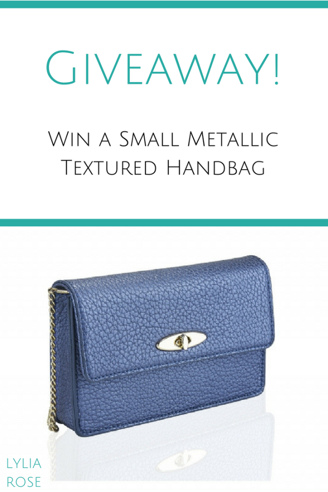 Blog Giveaway_ Win a Small Metallic Navy Soft Textured Handbag