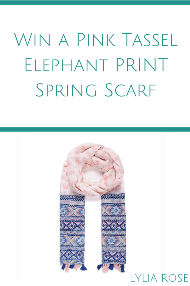 Blog Giveaway_ Win a Pink Tassel Elephant Spring Scarf #winitwednesday