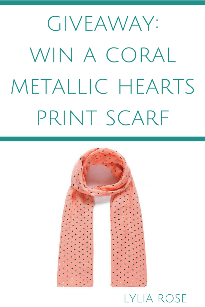 blog giveaway win a coral metallic hearts print scarf