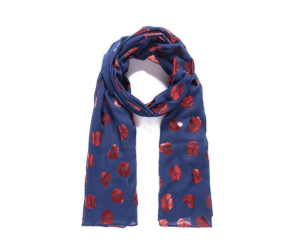 Blog Giveaway: Win a Blue and Red Metallic Poppy Print Scarf #winitwednesday