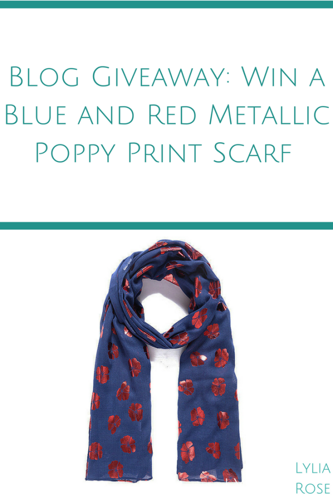 Blog Giveaway_ Win a Blue and Red Metallic Poppy Print Scarf #winitwednesda