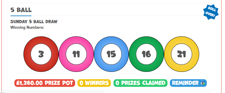 sunday 5 ball free national lotto jackpot