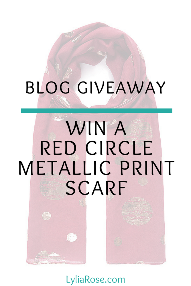 Red Circle Metallic Print Scarf