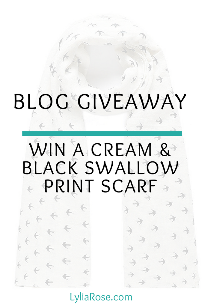 Blog Giveaway_ Win a Glossy Black Swallow Print Cream Bird Scarf from the L