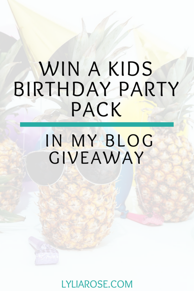 Win a kids birthday party pack in my blog giveaway