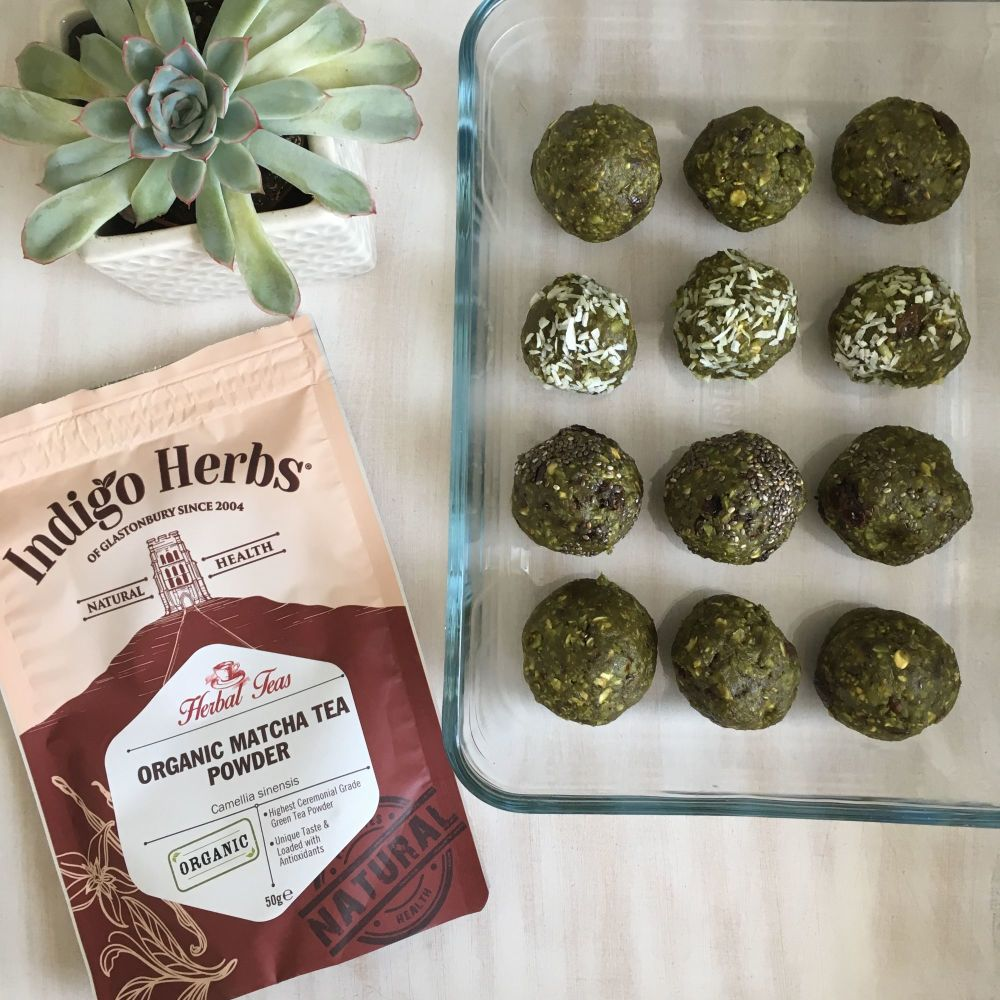 Vegan coconut and green matcha energy balls with Indigo Herbs 2