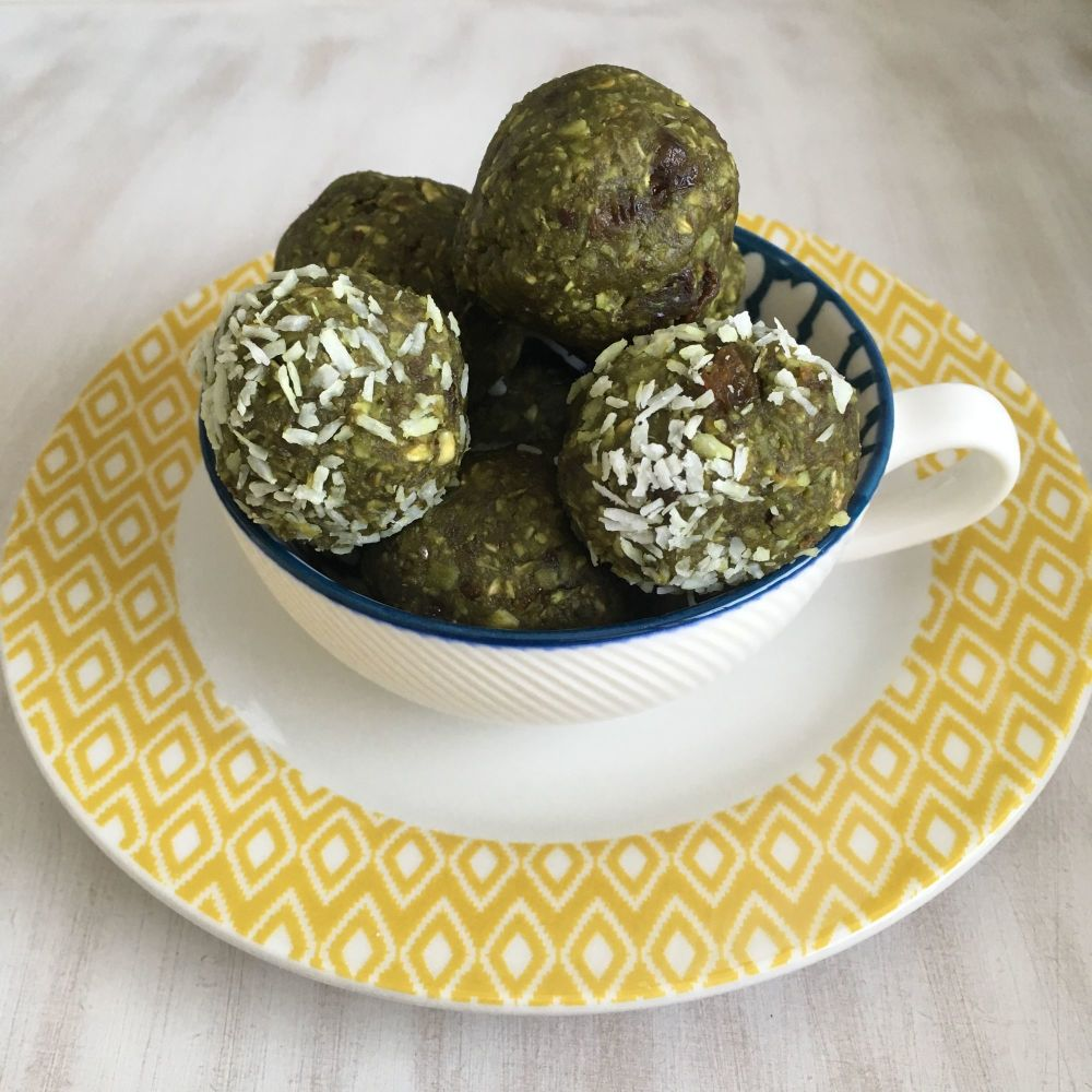 Vegan coconut and green matcha energy balls with Indigo Herbs 3