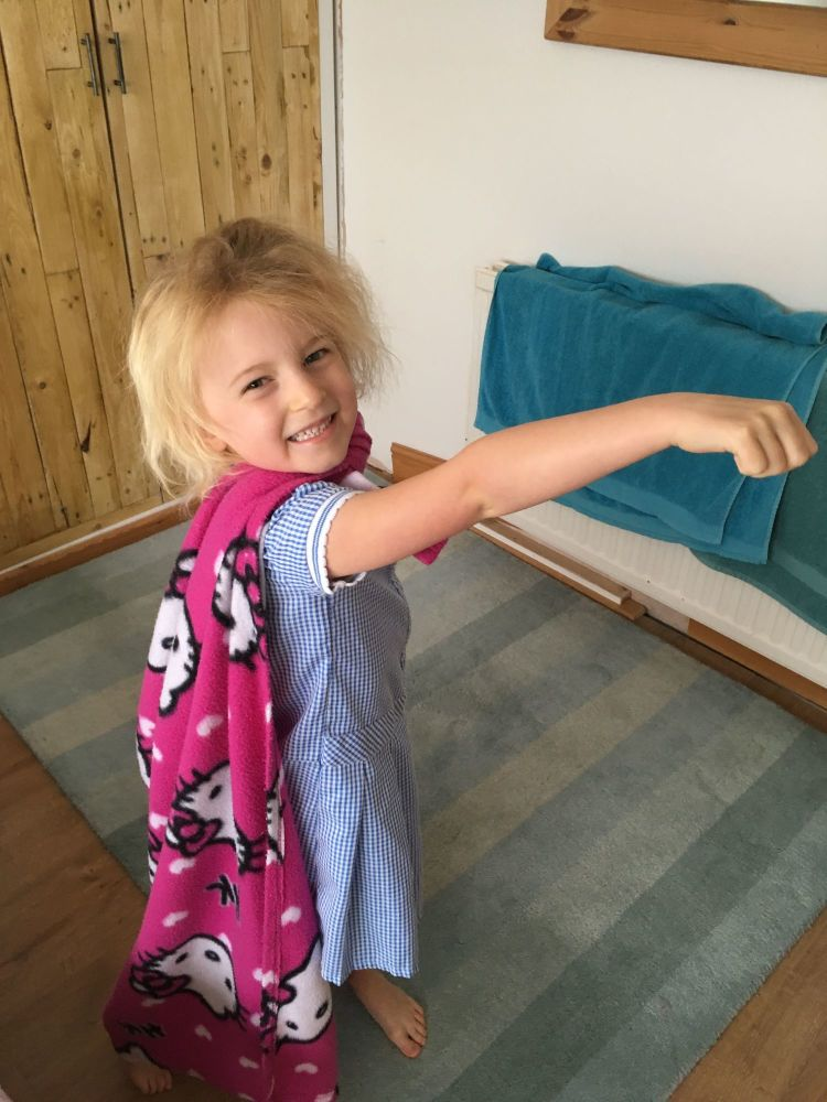 Monthly Family Roundup May and June 2018 Bella Superhero Cape with Rug Role