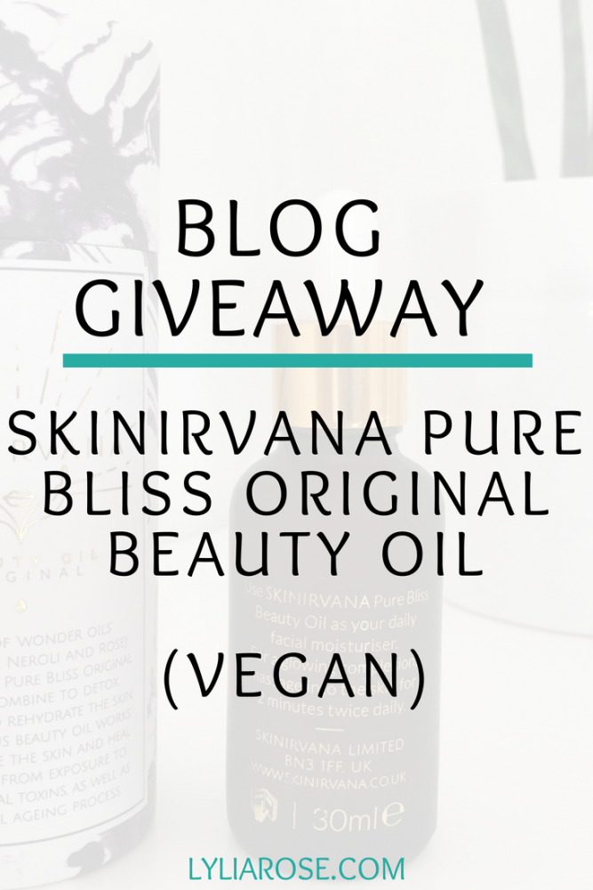 Blog Giveaway - Win a SKINIRVANA Pure Bliss Original Beauty Oil